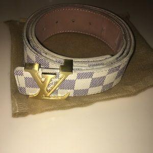 Louis Vuitton Belt Initales Damier Azur Blue/White